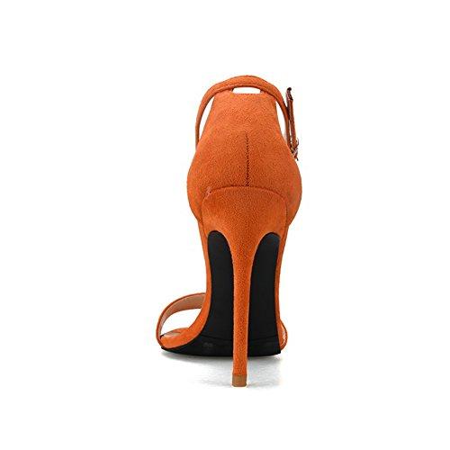 Tamaño 10cm Punta abrochados y Sandalias Sandalias Color Grandes Abierta Tacones Atractivas Finas Naranja 41 g7xwPq