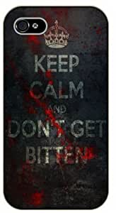 """Case Cover For HTC One M8 """") Keep Calm and don't get bitten, zombies - black plastic case / Keep Calm, Motivation and Inspiration, dead, walking"""