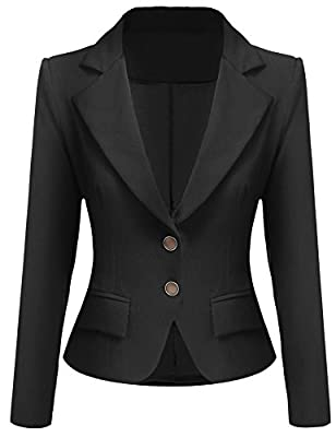Pasttry Women's Casual Work Office Slim Long Sleeve Lapel Shoulder Pad Business Blazer Jacket