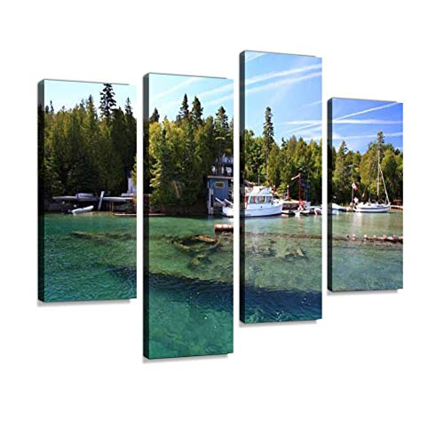 Sunken Ship in Lake Huron, Tobermory, Ontario Canvas Wall Art Hanging Paintings Modern Artwork Abstract Picture Prints Home Decoration Gift Unique Designed Framed 4 Panel