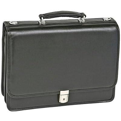 "17"" River North Black Leather Triple Compartment Briefcase"