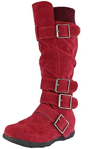Cambridge Select Women's Buckle Sweater Knee High Flat Boot (7.5 B(M) US, - Boot Knee Buckle Slouch