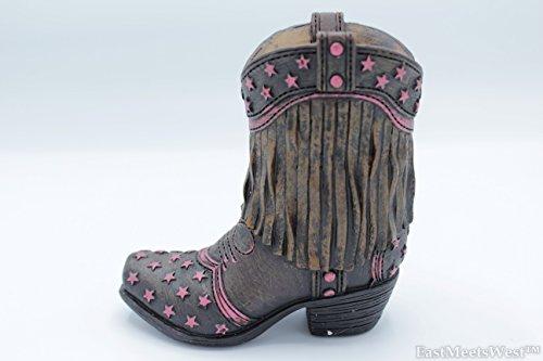 Colors of Rainbow Rustic Western Cowgirl Fringe Tassels Pink Stars Hand Painted Boot Vase Pen Pencil Holder - Hand Painted Tassel