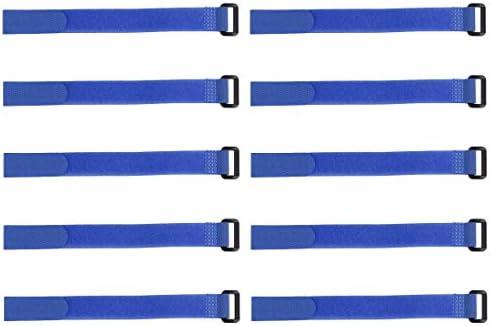 uxcell フックとループのストラップ20mm x250mmストラップ固定 再利用可能な固定ケーブルタイ (ブルー)10個