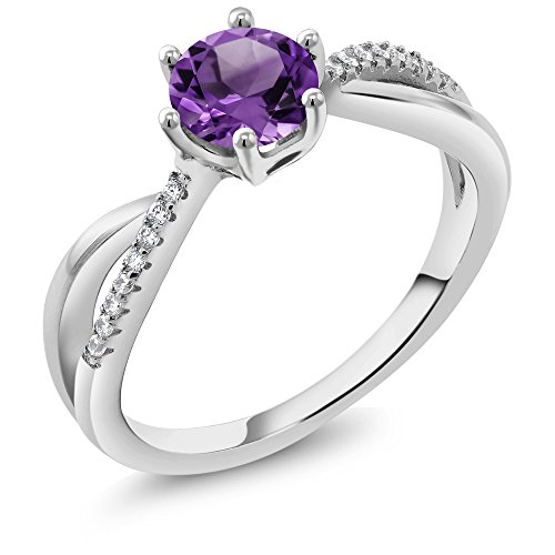 0.94 Ct Round Purple Amethyst 925 Sterling Silver Ring