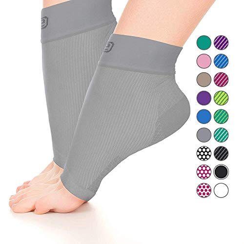Plantar Fasciitis Sock, Compression Socks for Men Women - Best Ankle Sleeve for Arch Support, Injury Recovery and Prevention - Relief from Joint and Foot Pain, Swelling, Achy Feet (Solid Gray,Medium)