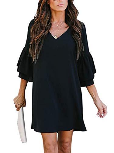 Shift Black - MISSLOOK Women's Bell Sleeve Tunic Dress V-Neck Loose Mini Dress Swing Shift Dresses - Black L