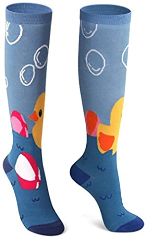 Delisocks Women Colorful Comfortable Duck and Bubble Cotton Knee High Socks (Yellow Duck Socks)