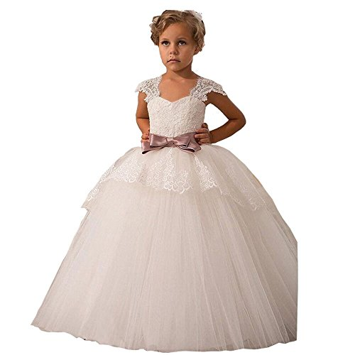 Elegant Lace Appliques Cap Sleeves Tulle Flower Girl Dress White Ivory 1-14 Year Old (Size 4, ()