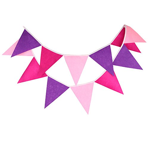 INFEI Multi-colored Felt Flags Bunting Banner Garlands for Wedding, Birthday Party, Outdoor & Home Decoration (Pink) -