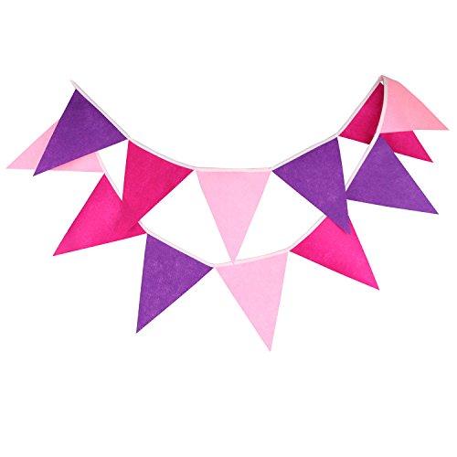 INFEI Pink & Purple Felt Flag Buntings Garlands Wedding Birthday Party Decoration