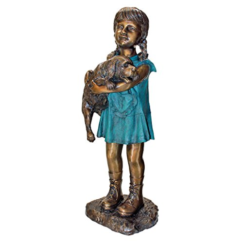 Girl with Puppy Bronze Garden Statue