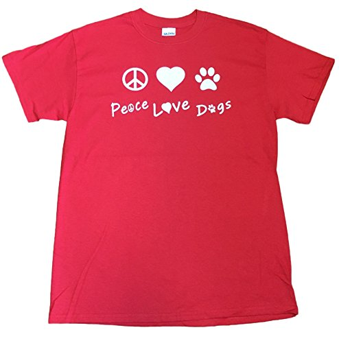 Peace Love Dogs Adult Unisex Rescue T-shirt (XXX-Large, Red)