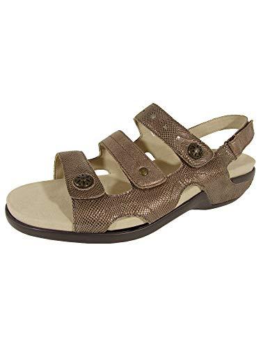 Aravon Women's Power Comfort Three Strap Heeled Sandal, Metallic Taupe, 10 D US