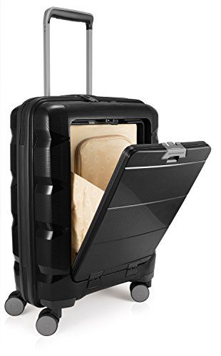 HAUPTSTADTKOFFER BRITZ Cabin Luggage Suitcase Hardside Spinner Trolley Expandable TSA Black by Hauptstadtkoffer