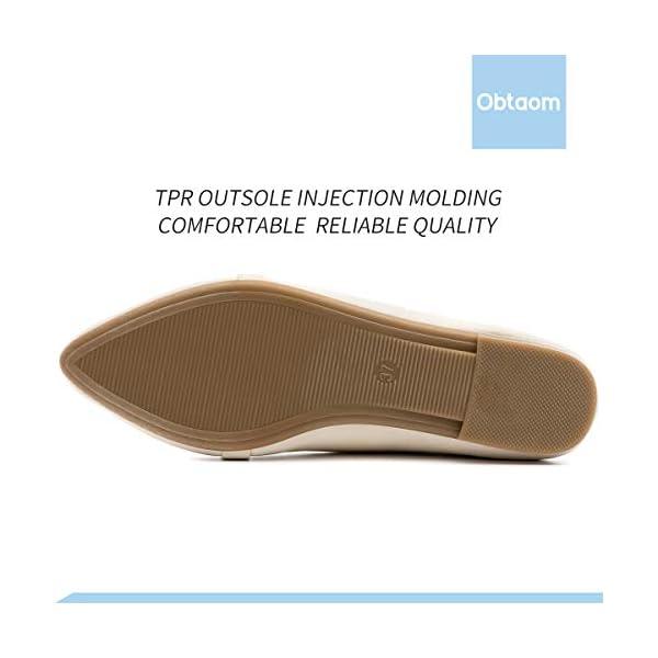 Obtaom Women's Faux Leather Ballet Slip On Comfortable Work Loafer Flat
