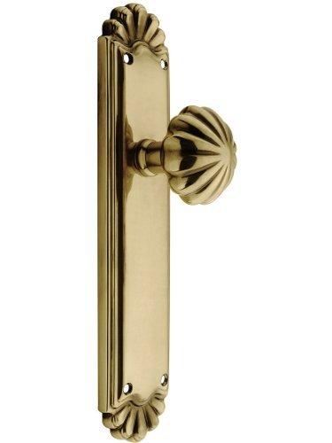 Trenton Door Set With Fluted Brass Knobs Passage In Antique Brass. Interior Door Sets. by Emtek by Emtek