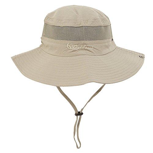 (Unisex Outdoor Sun Cap Camouflage Bucket Mesh Boonie Hat (Light Camel))