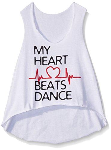 Gia-Mia Dance Big Girls Heart Beats Tank, White, Medium