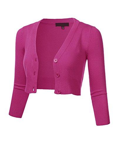 FLORIA Women Solid Button Down 3/4 Sleeve Cropped Bolero Cardigan Sweater Magenta L