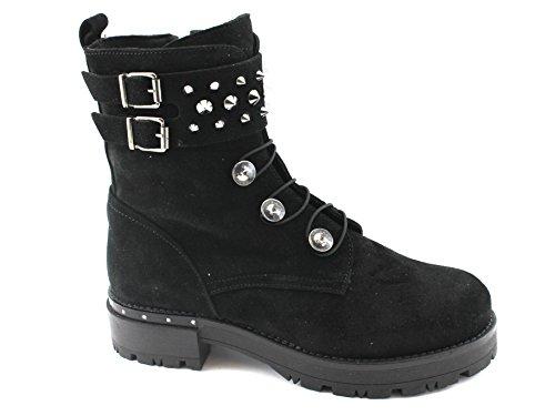 Cafè Noir CAF Noir FC627 Noir Chaussures Femmes Bottes Bottes en Cuir Fermeture Éclair Boucles Nero MI9Ywm