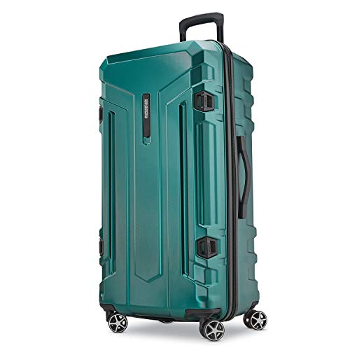 - American Tourister Trip Locker Hardside Checked Luggage with Dual Spinner Wheels, Dark Green