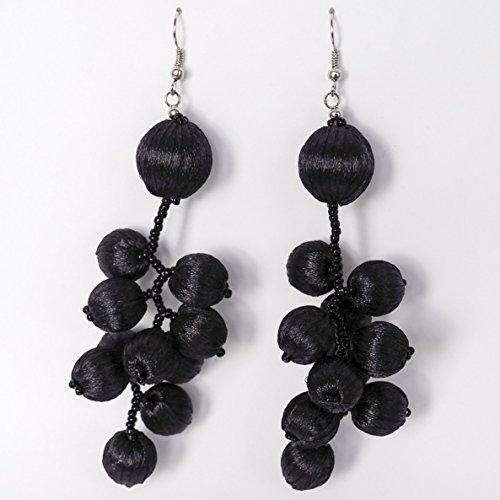 Unique Black Prom Tassel Ball Drop Dangle Chandelier earring Vintage Long Cluster Big teardrop for girl Large Beaded earrings for women