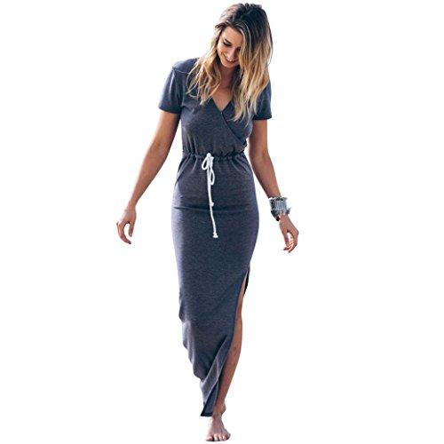 Vestido Mujer ♛JiaMeng Vestido de Furcal de la Cintura de la Manga Corta de la Autocultivo de la Personalidad Gris