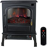 Warm Living 1500W Electric Infrared Deluxe Home Stove Fireplace Heater, Black