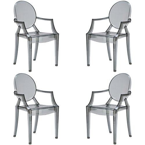 Poly and Bark Burton Arm Chair In Smoke(Set of - Ghost Chair Louis Arm