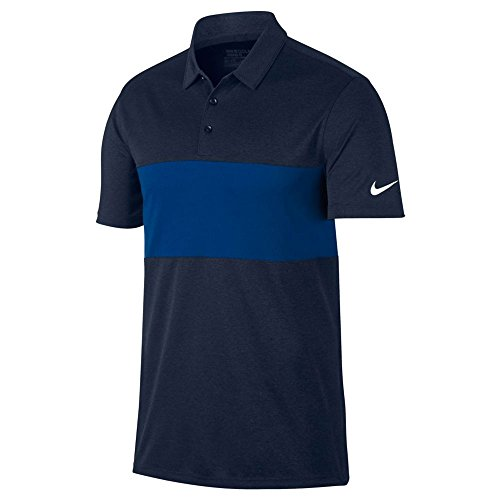 Nike Shirt Away (NIKE Breathe Color Block Golf Polo 2017 Obsidianheather/Blue Jay/White Large)