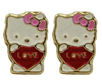 58f76a1b8 Amazon.com : BEST OFFER!!! STOCK SALE!!! GF 18k Tiny HELLO Kitty Earrings  Heart Enamel Baby Kids Girl Love in : Beauty