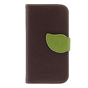 RC - BJ00133 Leaf Buckle Pattern PU Leather Pouches for Samsung Galaxy S4 I9500 , Brown