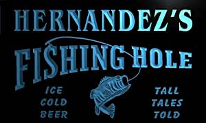 qx1029-b Hernandez's Fishing Hole Fly Game Room Beer Bar Neon Light Sign
