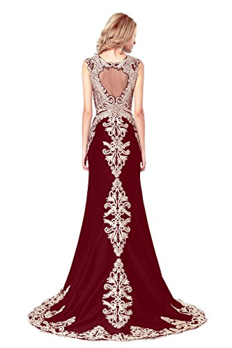 Evening Embroidery Dress Love Burgundy Dresses Mermaid Long Prom Maxi Women's Lace King's Sq6Ip