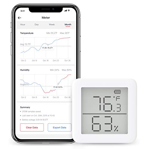 SwitchBot Thermometer Hygrometer Alexa iPhone - Android Wireless Temperature Humidity Sensor with Alerts, Add SwitchBot Hub Compatible with Alexa, Google Home, IFTTT