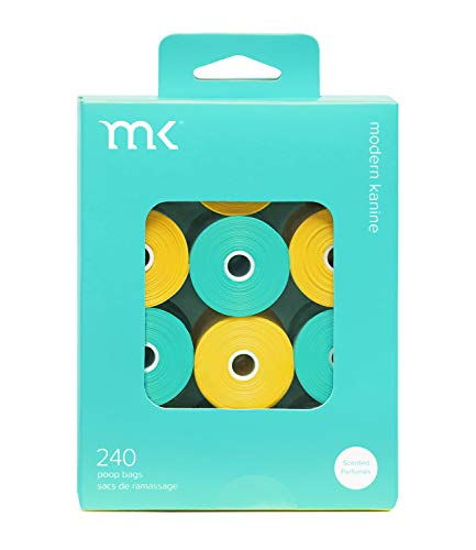 Modern Kanine 240-Count Poop Bags, Scented Dog Waste Bags, Turquoise and Yellow