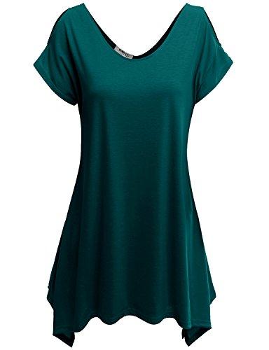 Doublju Womens Short Sleeve Cut-Out Shoulder Tunic Blouse Top PEACOCK 3XL