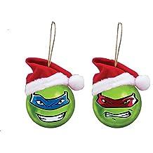 Kurt Adler 60mm Teenage Mutant Ninja Turtles Shatterproof Ball Ornament W/santa Hat 2/asstd: Leo & Ralph.