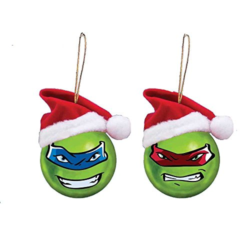 - Kurt Adler 60mm Teenage Mutant Ninja Turtles Shatterproof Ball Ornament W/santa Hat 2/asstd: Leo & Ralph.