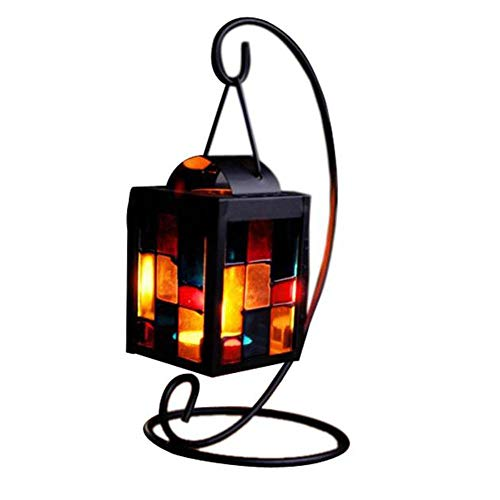 - Transer- Vintage Moroccan Style Lanterns Metal Tealight Candle Holder Romantic Candlestick Creative Wedding Christmas Home Table Decoration Gift (Black)