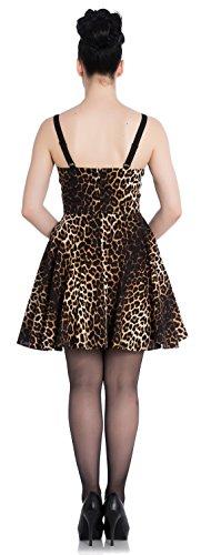 Braun Mini Leomuster Panthera Leopard Kleid Hell Bunny Retrokleid Damen schwarzes wqpBTB