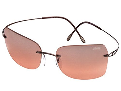 Silhouette Crystal Sunglasses Sparkling Icon Apricot 8121 (8121-6151 brown / brown mirror gradient lens, one - Sunglasses Silhouettes