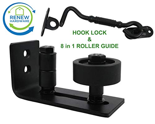 Lock Pick Hook (Barn Door Floor Guide Stay Roller with Iron Hook Door Lock | Flush Design (8 Setup Options) | for All Barn Doors | Bottom Bracket Sits Flat On Ground | One Adjustable Wall Guide per Unit Ordered)