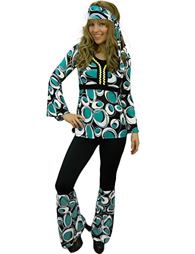 [Yummy Bee Womens Hippy Costume 60s 70s Flower Power Blue Size 12] (70s Beauty Adult Costumes)