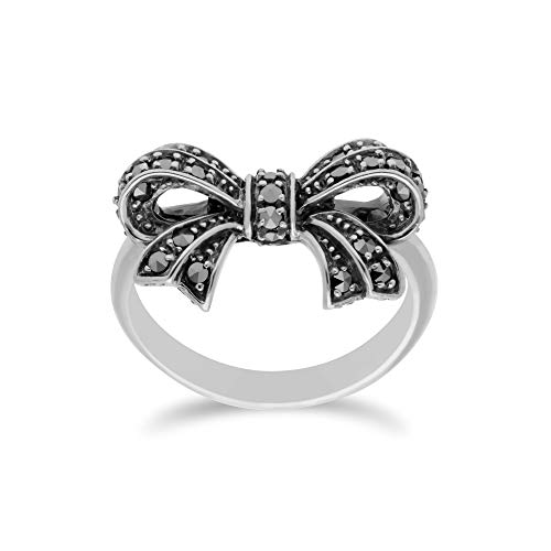 Gemondo USA 925 Sterling Silver Marcasite Bow Ring (9)