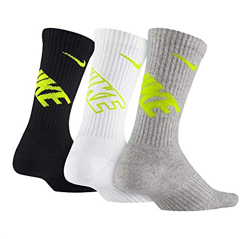 Nike Youth Athletes Performance Cushioned Crew Socks 3 Pack-Blk/Wht/Gry-Small