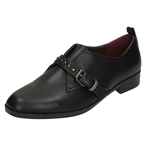 Ladies Spot On Style 196 Low Heel Buckle Strap Vamp Shoes Black aYEl317Is