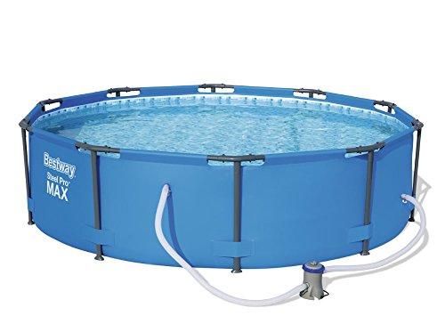 Bestway Steel Pro MAX Juego de Piscina con Marco de Acero con Bomba de Filtro, Azul, 305 x 76 cm