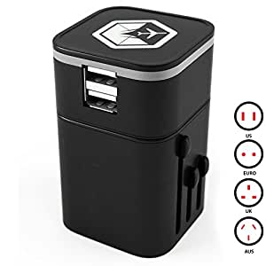 Venture 4th 3.2A AC Power Plug Universal Travel Wall Adapter and Charger with Dual USB Charging Ports – Black